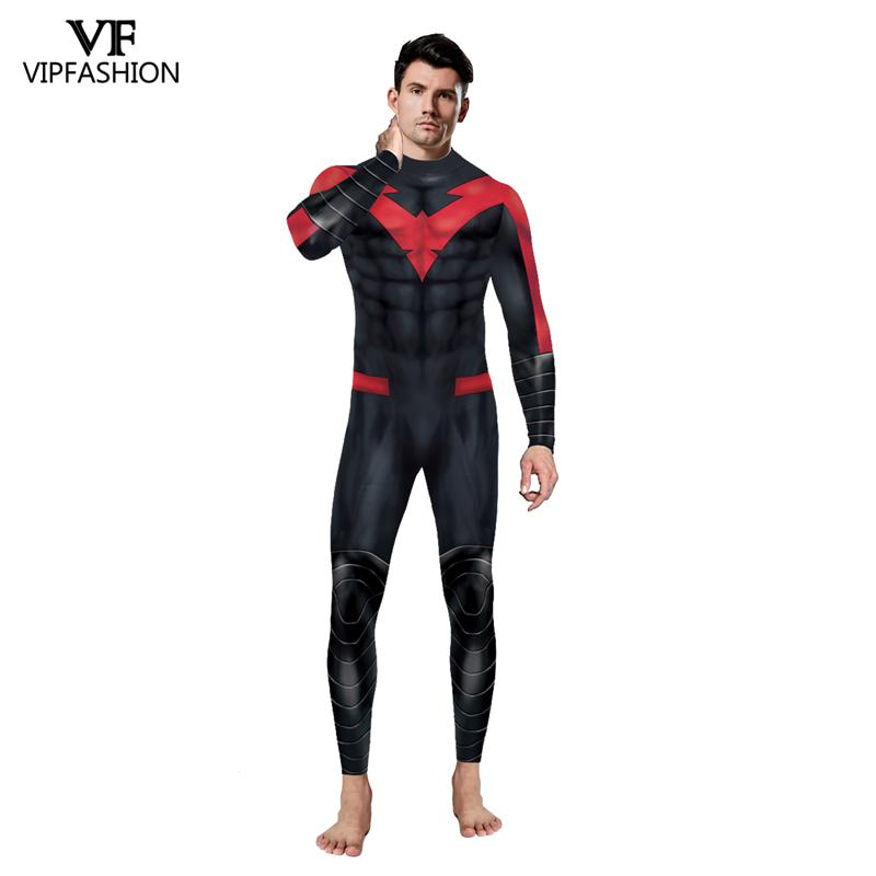 Image 4 - VIP FASHION New DC Comic Batman Nightwing Cosplay Costume  Superhero Anime Zentai Suit Bodysuit Halloween Costume For MalesMovie & TV costumes   -