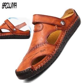 Мужские сандалии из натуральной кожи, мягкая пляжная обувь, богемные тапочки, Мокасины, размеры 38-48, лето