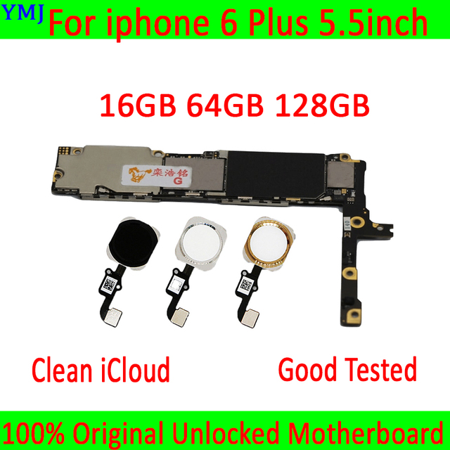 Unlocked mainboard for iphone 6 Plus motherboard,16GB/64GB /128GB logic board for iphone 6P MB Plate with/without touch ID