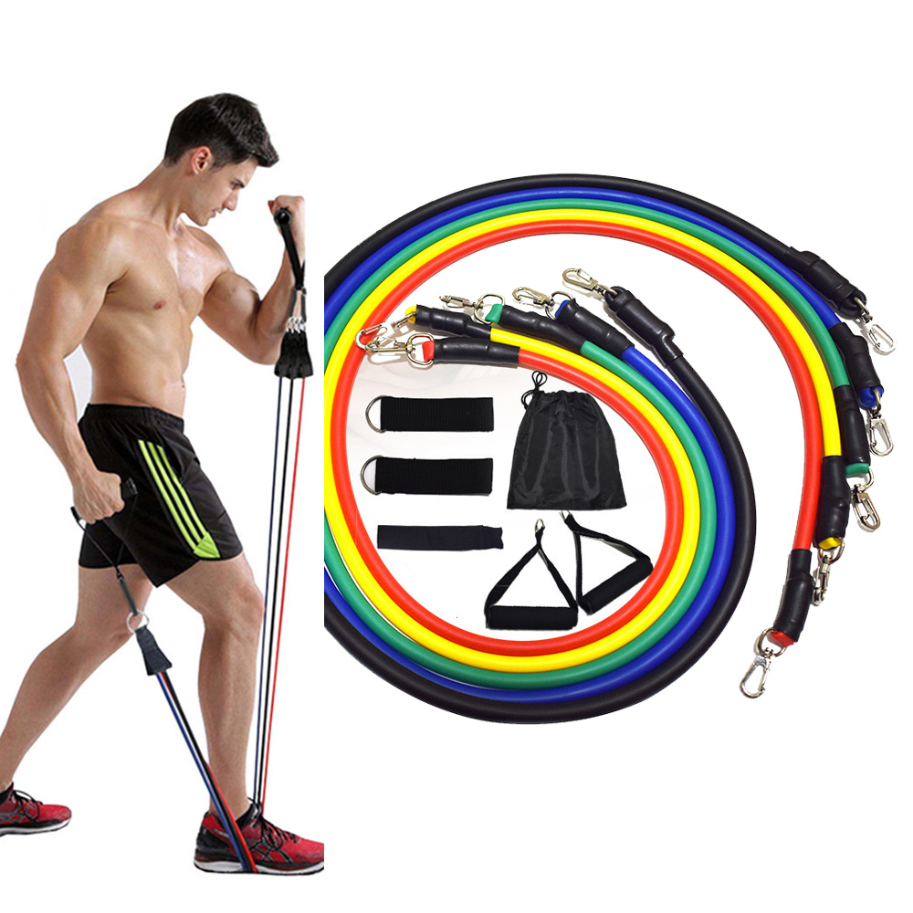 11 Pcs Resistance Bands Set Fitness Bands Resistance Gym Equipment Exercise Bands Pull Rope Fitness Elastic Training Expander