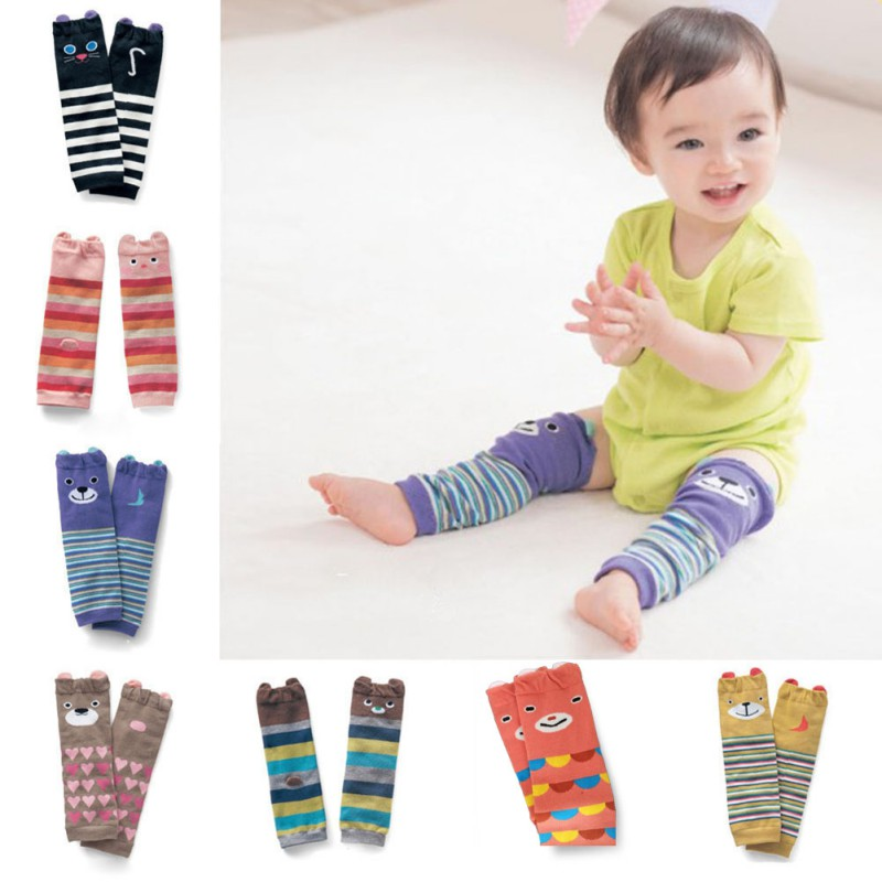 Retail Wholesale Cartoon Pattern Air Conditioning Baby Leg Warmers Baby Boys Girls Toddler Knee-length Striped Leg Warmer Cotton