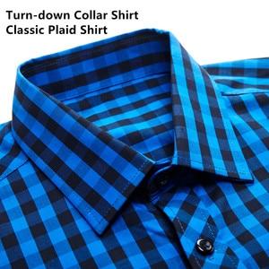 Image 2 - Blue White Plaid Mens Classic Casual Shirt High Quality 100% Cotton Male Social Long Sleeve Slim Fit Shirt 4XL