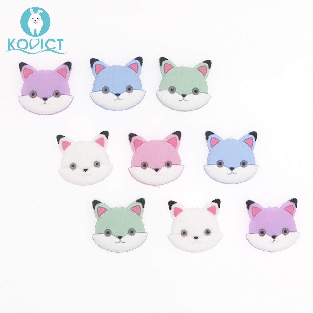 Kovict 5/10 Pcs 30mm Cute Mini Fox Silicone Beads Animal Baby Teether Infant Teething Bead For DIY Necklace Accessories Toy