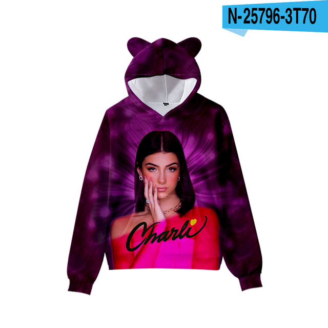 3D Print Charli D'Amelio Hoodies Boys/Girls Cat ears Hip hop Kpop Sweatshirts Hooded Autumn Winter Charli Damelio Merch Tops 6