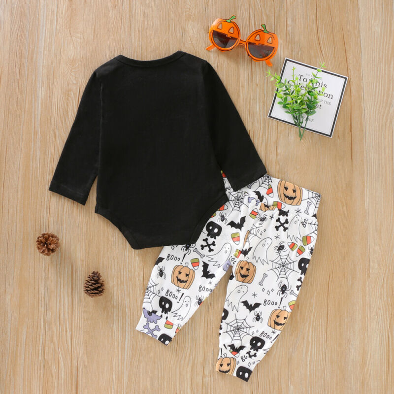 0 24M Newborn Baby Boy Girl Halloween Clothes Set Pumpkin Long Sleeve Romper Pants Outfits Festival Gift Baby Costumes in Clothing Sets from Mother Kids