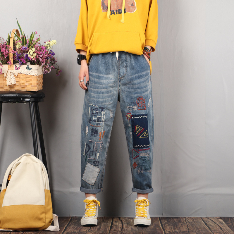 2020 Women Spring Fashion Korea Style Elastic Waist Vintage Embroidery Patchwork Oversized Harem Pants Office Lady Casual Jeans