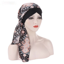 Turban Hat Flowers Under-Hijab Printed Ready-To-Wear Trendy Chiffon Bonnet Head Scarf