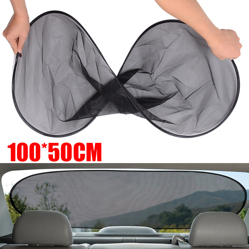 1pc Sun Visor Screen Sunshade Car Curtain Mesh Nylon Car Rear Window Sunshade 100x50cm With Powerful Suction Cup Automobile in Rear Window from Automobiles Motorcycles