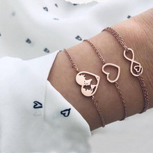 ZORCVENS 3 Pcs/set Gold Color Bohemian Heart Bracelets Bangles Earth Map Charm Bracelet Set for Women