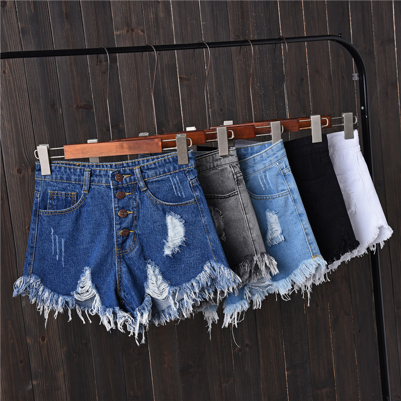 Jian Peng Denim Shorts Womens Tassel Hole High Waist Summer Short Jeans Four Button Shorts Women With S To 6XL Plus Size