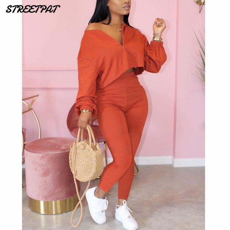 Einfarbig 2 Stück Set Frauen Trainingsanzug Crop Top Outfit Jogger Sweat Anzüge Frauen Workout set 2020 Lounge Tragen