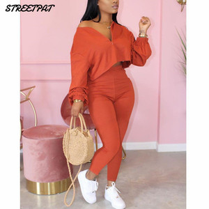 Solid Color 2 Piece Set Women Tracksuit Crop Top Outfit Joggers Sweat Suits Women Workout set 2020 Lounge Wear