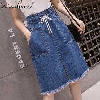 Plus Size Casual Midi Skirt New Korean Solid Skirt Womens High Waist Student Girl Summer Denim Drawstring Skirts юбка B03106B