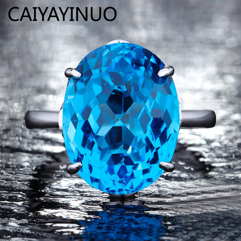Caiyayinuo Real 925 Sterling Silver Rings for Women with 12*16MM Blue Topaz Ring Gemstone Aquamarine Engagement Fine Jewelry