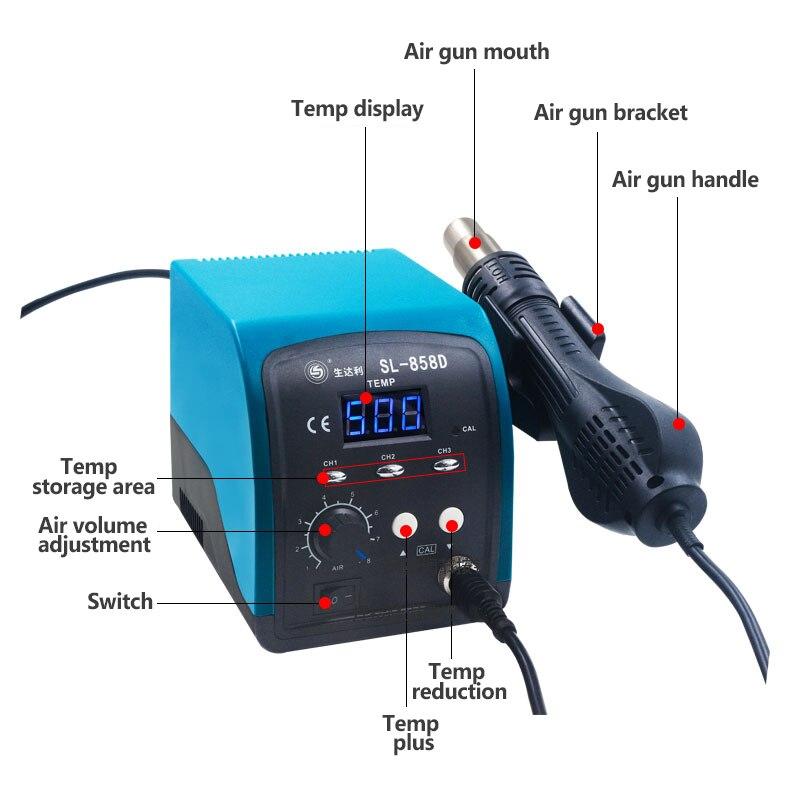 Blue Display Desoldering Air Smart Tool Gun Thermostat 858D Repair Mobile SL Hot Screen Station Phone Digital