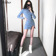 Nibber autumn Harajuku Thicken Knit bodycon dress office turtleneck long sleeve mini dresses Mujer 2019 fall winter Casual dress