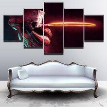 цена на Modern Canvas Painting Modular Game Poster 5 Pieces 2 DotA Juggernaut Wall Art Home Decor Boys Room Printed Picture Artwork