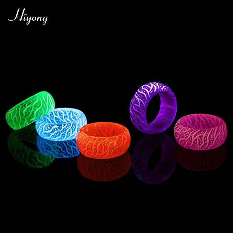 2019 moda anel de resina luminosa banda brilho luz da noite anel no escuro fluorescente incandescente anéis jóias presente para mulher
