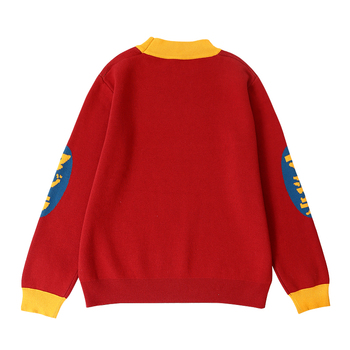 Harajuku Fashion Knitted Women Sweater Cartoon Monster Embroidery Student Sweater Coat Loose Retro Hit Color Pullover Sweater 1