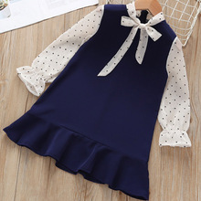Baby Girls Dress 2019 Autumn Polka Dot with Bow Long Sleeves Princess Dress for Girl Kids Dress Spring Vestidos 2 5 7 Years elogy dress with bow and polka dot print printed