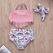 2020 Summer Newborn Baby Girl Swimsuit Tassel Bikini Suit 2pcs Set Swimwear Halter Cartoon Cute Set Beach Clothes Bathing Suit(China)