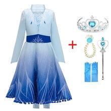 3-10y meninas vestido dos desenhos animados cosplay neve rainha 2 princesa anna elsa vestido traje roupas do bebê crianças vestido elza