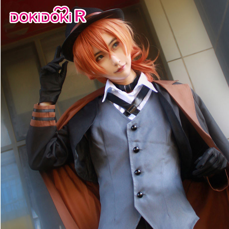 DokiDoki-R Anime Bungo Stray Dogs Nakahara Chuya Cosplay Costume With Wig Bungo Stray Dogs Cosplay Nakahara Chuya Costume