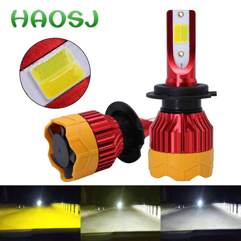 HAOSJ H7 LED 3000K 6000K 4300K Car Light  H11 LED Fog Light H27 880 881 Triple Color And Flash H8 LED Bulbs 9005 HB4 9006 H1 Led