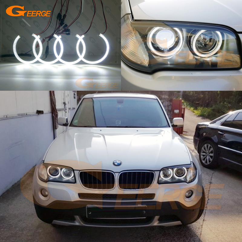For BMW E83 X3 2007 2008 2009 2010 Xenon headlight Excellent Ultra bright illumination smd led Angel Eyes kit DRL