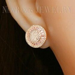 Newranos champanhe ouro brincos de parafuso prisioneiro pave cz zircons forma redonda charme brincos para a moda feminina jóias ehf001722