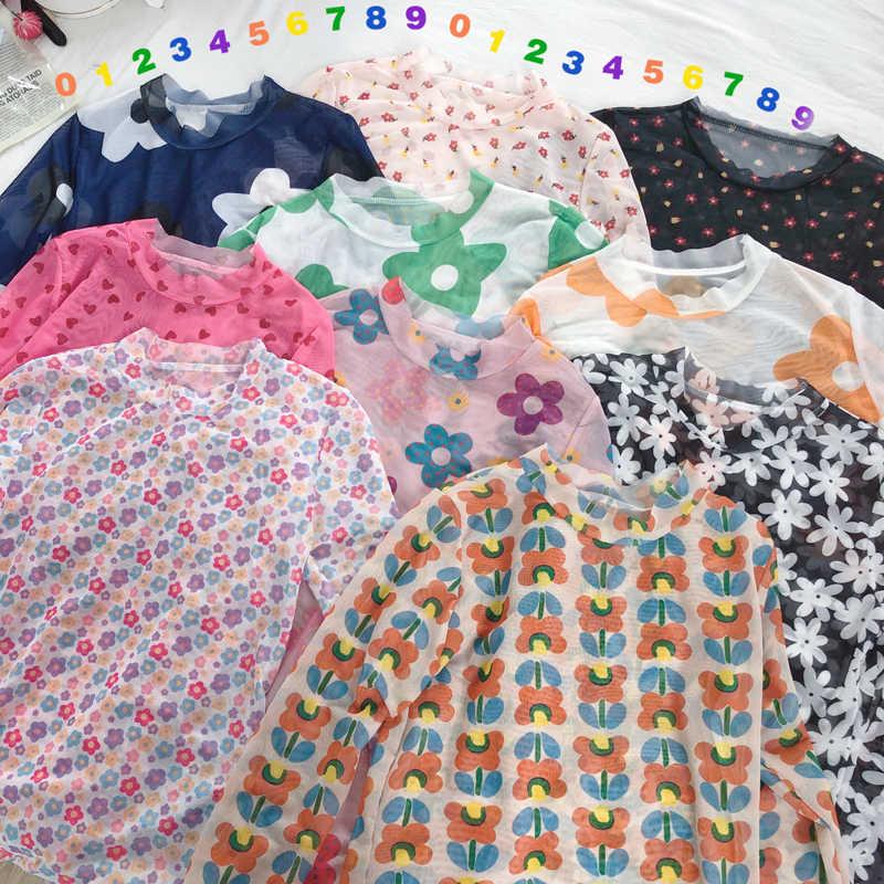 Цветочная ромашка с графическим цветочным принтом, тонкая стрейчевая сетка, Прозрачная Сексуальная футболка, футболка, топ, Корейская женская кавайная 90s