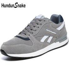 Hundunsnake couro cinza mulher esporte tênis feminino sapatos esportivos sapatos masculinos tênis de corrida mulher formadores caminhada t620