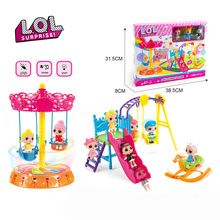 Original LOL Surprise Dolls Toy Playground Carousel with Light Music Swing Doll Suit Toys for Girls Birthday Gifts