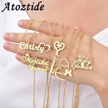 Atoztide Custom letter Necklaces Personalized Jewelry Chain Pendant name gold necklace for women stainless steel Gifts 1