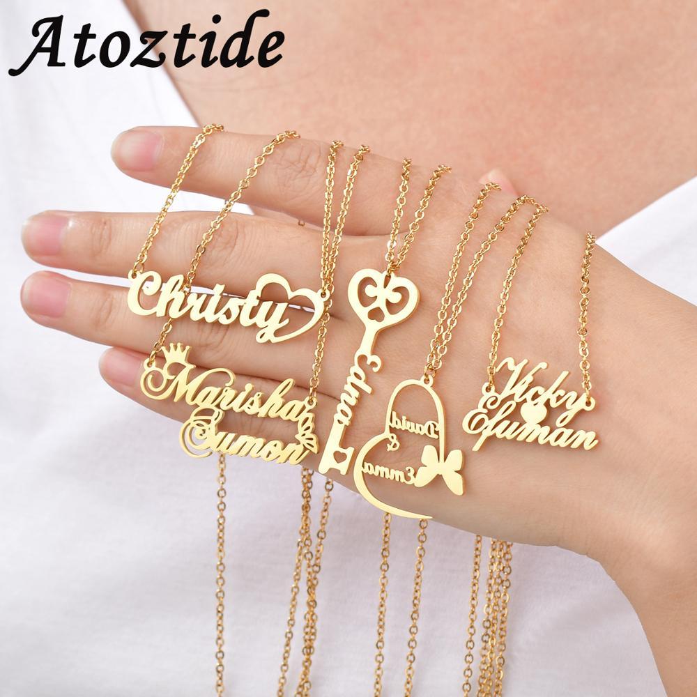 Atoztide-colliers personnalisés avec lettres, chaîne à bijoux avec pendentif avec nom en or pour femmes, cadeaux en acier inoxydable