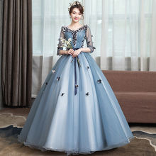 Quinceanera dresses v neck 3/4 sleeves wedding party dress for