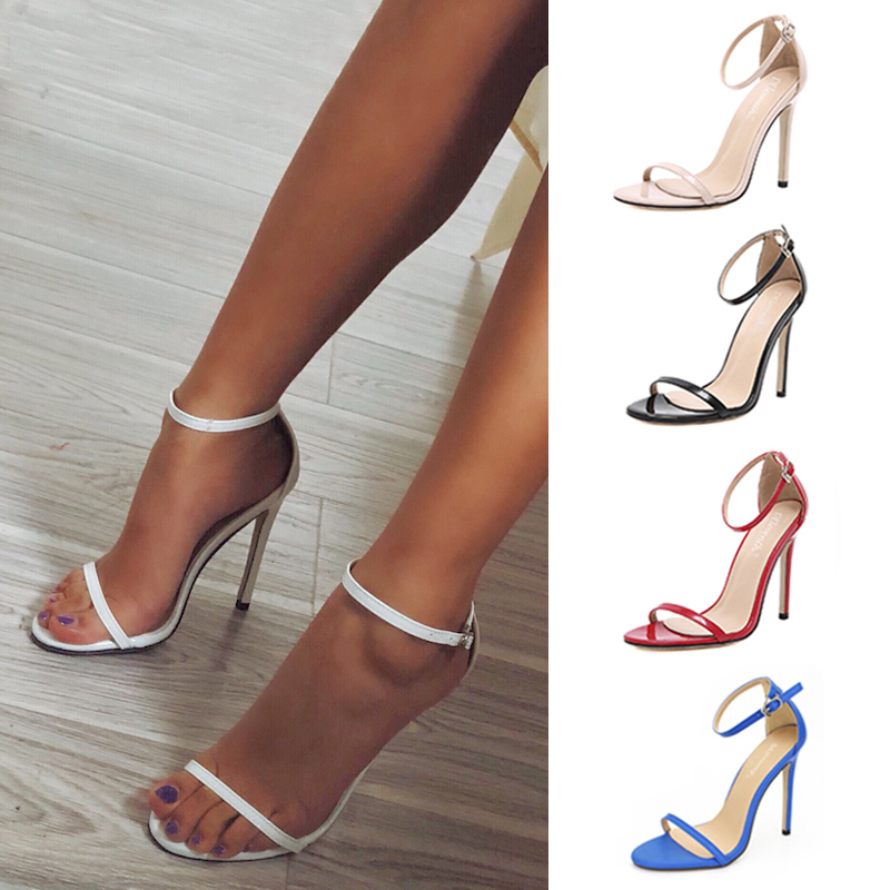 Sexy High Heels Buckle Women Shoes New Women Pumps Red Wedding Shoes Black Heels Female Party Shoes Women Sandals Plus Size 43