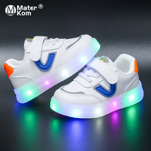 Size 21-30 Children Breathable Wear-resistant Glowing Shoes Boys Anti-slippery Casual Luminous Sneakers Girls Led Light Up Shoes cheap Mater Kom 13-24m 25-36m Mesh (Air mesh) CN(Origin) Four Seasons Lighted unisex LED Shoes Fits true to size take your normal size
