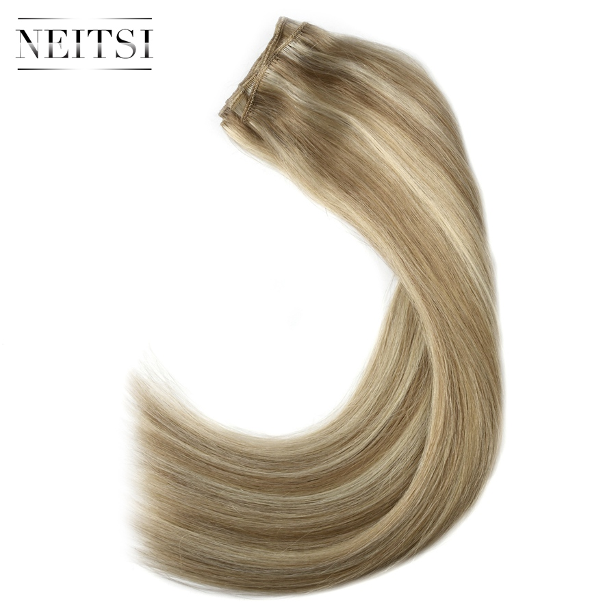 Neitsi Straight Double Drawn Remy Human Hair Weave Extensions 20 quot 50cm 100g pc Hair Weft Bundles Ombre Colored in Hair Weft from Hair Extensions amp Wigs