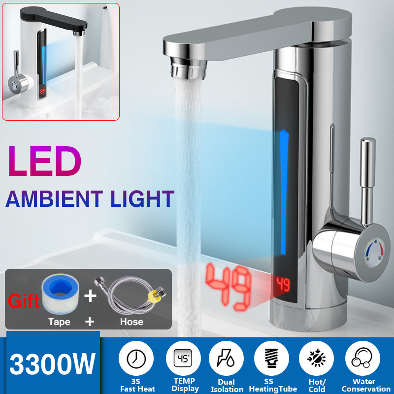 Electric Hot Water Heater Faucet Tap 3300W LED Ambient Light Temperature Display Instant Heating Bathroom Kitchen Faucet