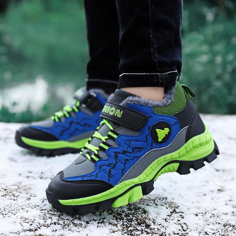 Kış gençler çocuk yürüyüş ayakkabıları yürüyüş tırmanma Sneakers CN boyutu 28-40 botları erkek kız çocuklar için pamuk eklemek kar ayakkabıları