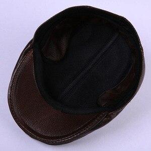 Image 2 - 2020 חדש לגמרי גברים של אמיתי עור אמיתי כובע בייסבול כובע מותג newsboy/כומתה כובע חורף חם כובעי כובעי עור פרה כובע