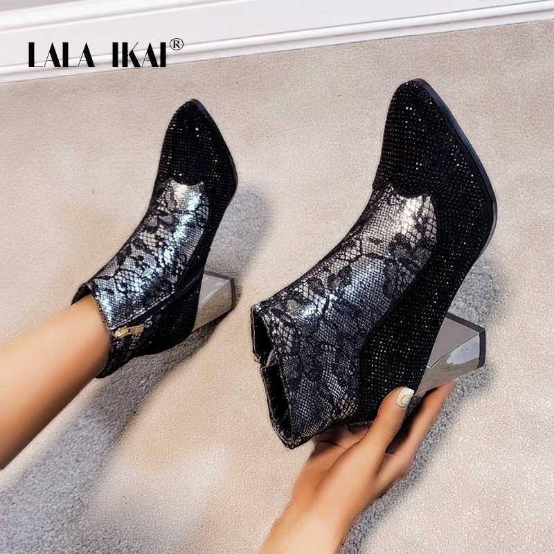 LALA IKAI 2019 yarım çizmeler kadınlar seksi taklidi yüksek topuklu sivri burun pompaları kadın kış polar sıcak zapatillas mujer C6298-4
