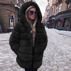Women Fashion Luxury Faux Fur Coat Hooded Autumn Winter Warm Overcoat Short Plush thickening Solid Color Warm Coat fur coat