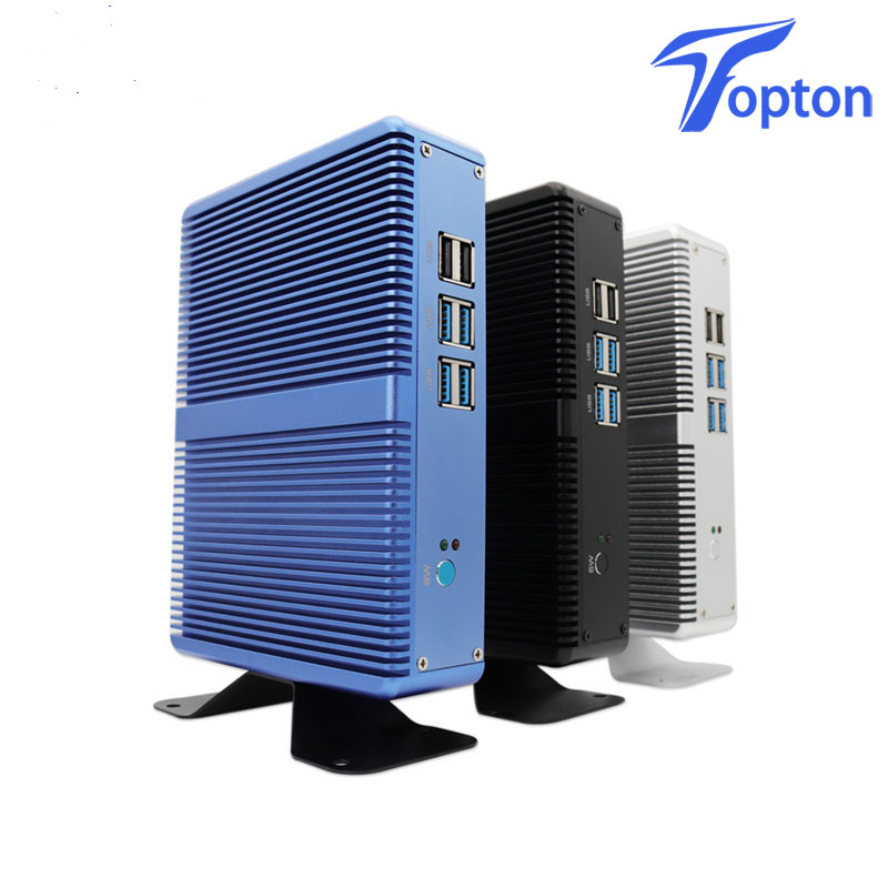 2019 Topton Fanless Mini PC Linux Windows10 Pro Core I5 7200U I3 7100U DDR3L/DDR4 HD 620 4K HTPC HDMI VGA Mini Desktop Computer