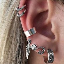 7pcs/set Bohemian Leaf Sun Moon Stud Earrings Set 2019 Boho Statement Fashion Jewelry for Female Aretes De Mujer WD696