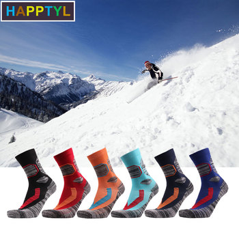 HAPPTYL 1Pair Ski Socks - Lightweight Thicken Cotton Warm Skiing Socks for Men and Women winter warm men women thermal ski socks thick cotton sports snowboard cycling skiing soccer socks leg warmers long socks