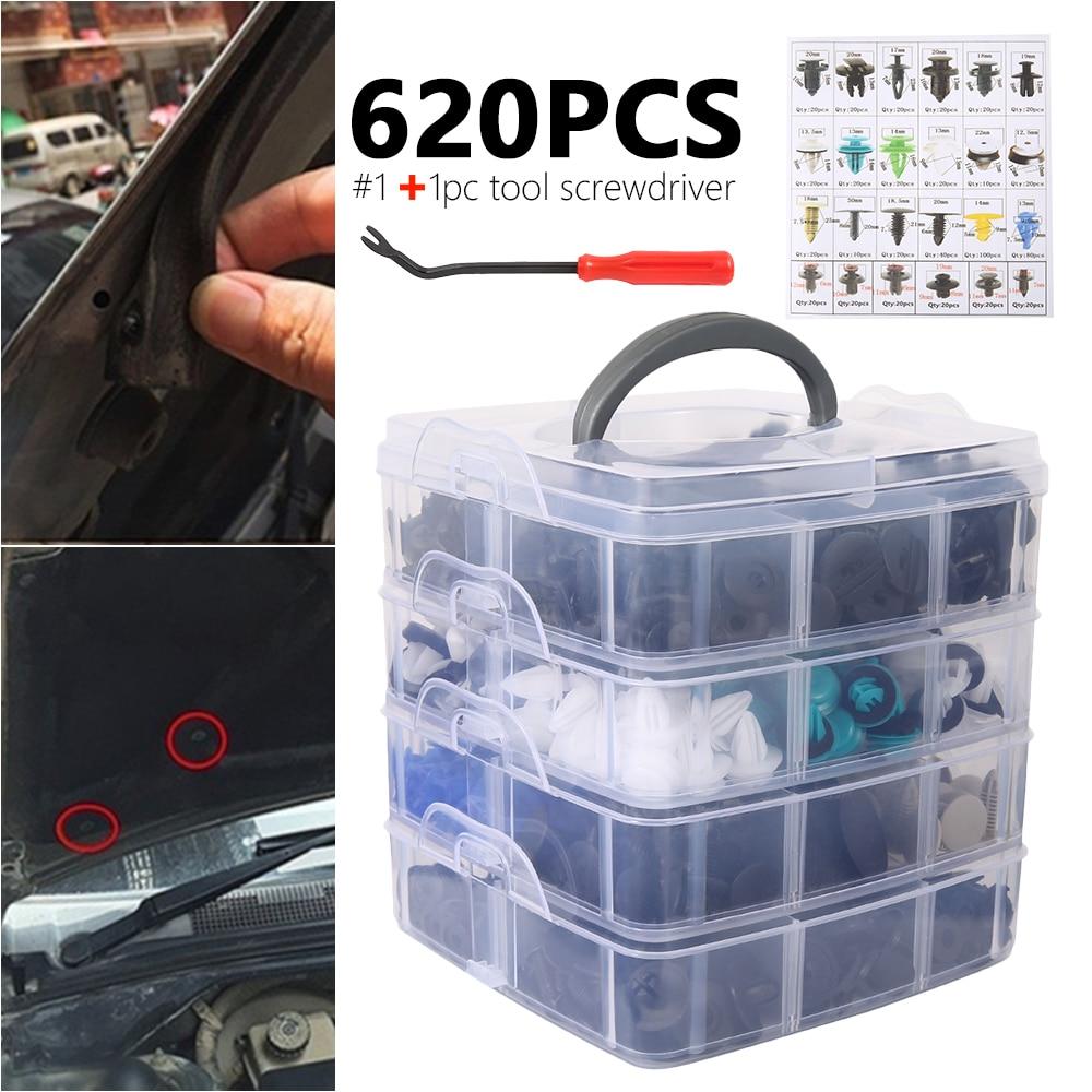 620pcs Mixed Car fastener clips trim kit Car Body Push Pin Rivet Trim Panel Fastener Clip Mould Tool Universal Clips for car