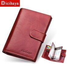 DICIHAYA Genuine Leather Wallet Passport Cover Women Rfid Pa