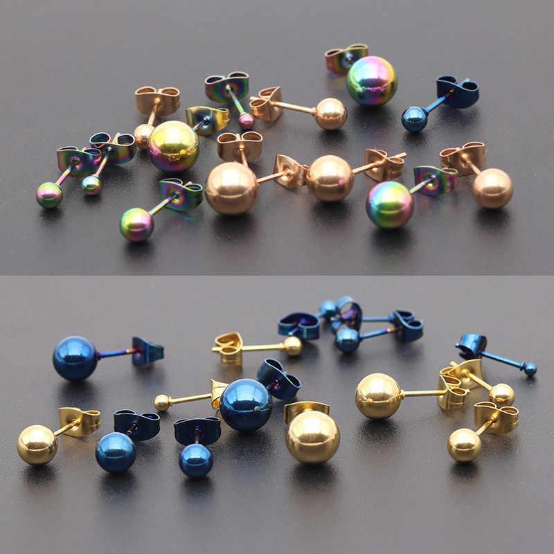 فاسق الفولاذ المقاوم للصدأ صغيرة أقراط ذات مسمار برأس كروي للنساء الهندسة القوطية جولة ثقب الأذن مجوهرات الرجال أقراط